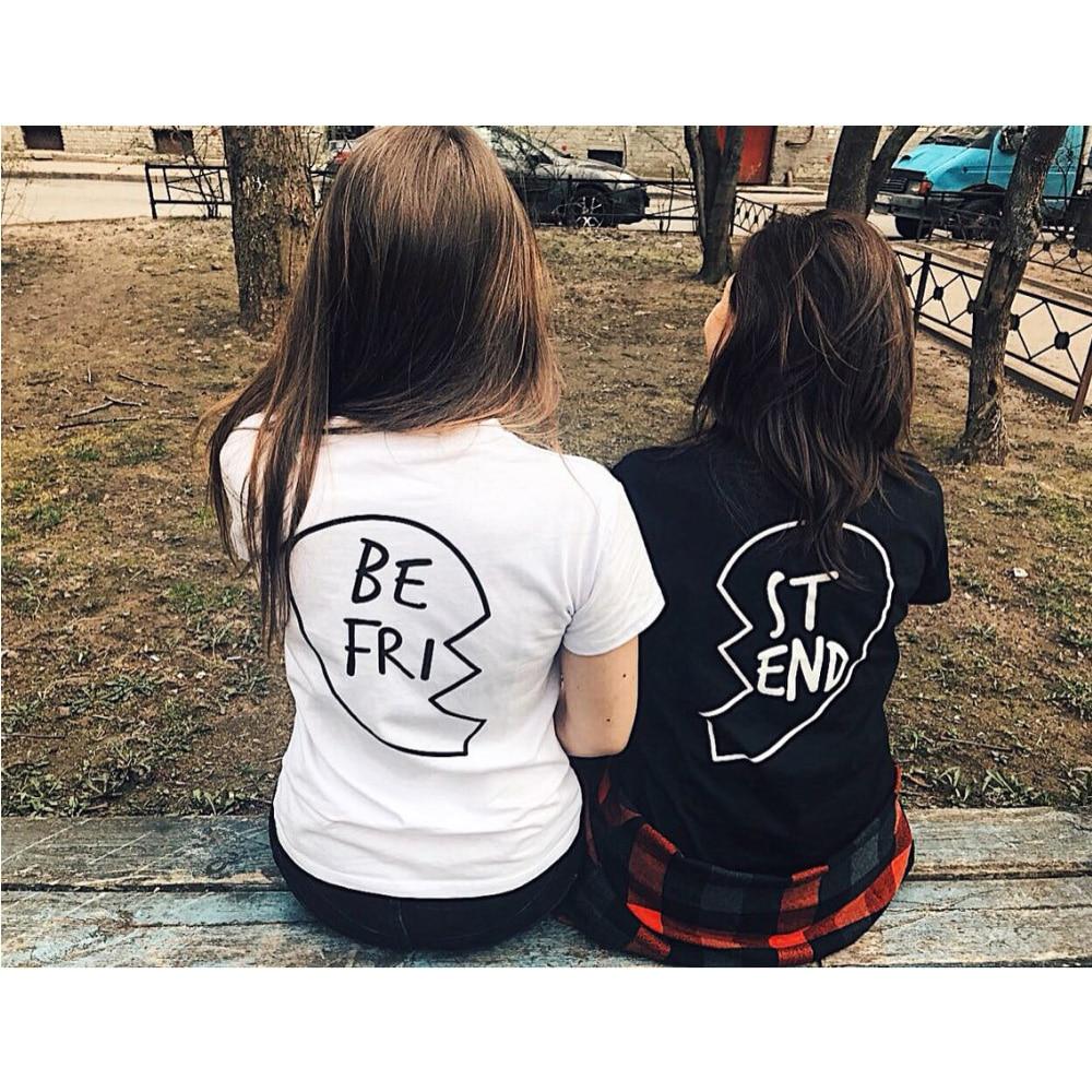 Tumblr Best Friends Graphic T Shirts Women 2019 Summer Harajuku Japan Black Aesthetic Vogue Printing Girl Shirt Cool Ladies Tee