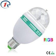 ZjRight led bulb e27 smart bulb AUTO Rotation RGB 3W led light bulbs DJ Disco holiday Xmas home party color changing light bulbs