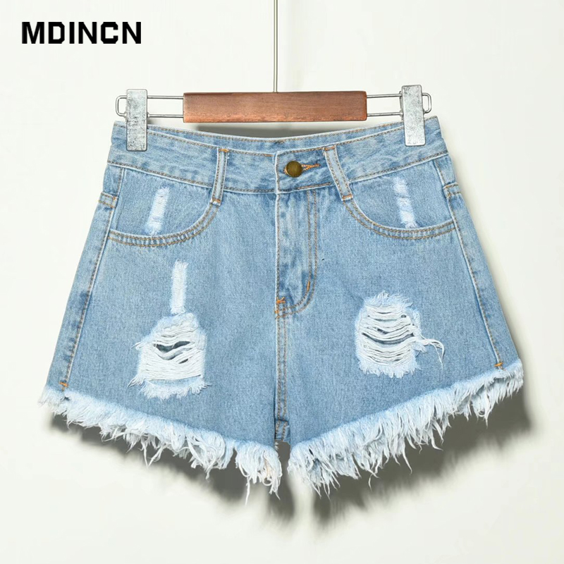 Europe Blue Crimping Hole Denim Shorts For Women Summer New Brand Trendy Slim Casual Plus Size Womens High Waist Shorts