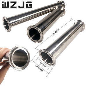 "Image 3 - WZJG OD 2 ""51 MM סניטרי סליל צינור עם 64MM מקורבות טבעת חזוק + Moonshine + תלת מהדק צינור אבזרי אורך 4 ""/6""/8 ""/12""/18 ""/24"""