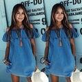 2016 verano nueva lindo de hoja de loto cuello ruffels azul claro fuera del hombro denim dress casual dress real