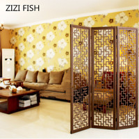 Modern brief household wooden screen chinese style vintage partition walls cutout wool off screen folding console