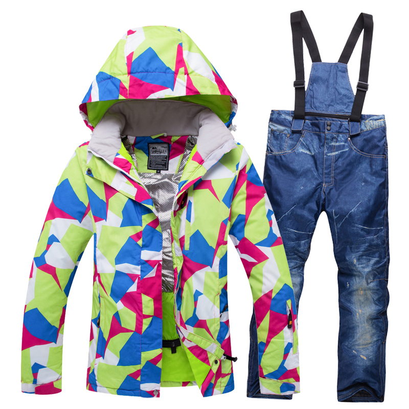 RIVIYELE Women Ski Jacket Pant Snowboard Suit Windproof Waterproof Outdoor Sport Wear Skiing Super Warm Clothing Trouser Female