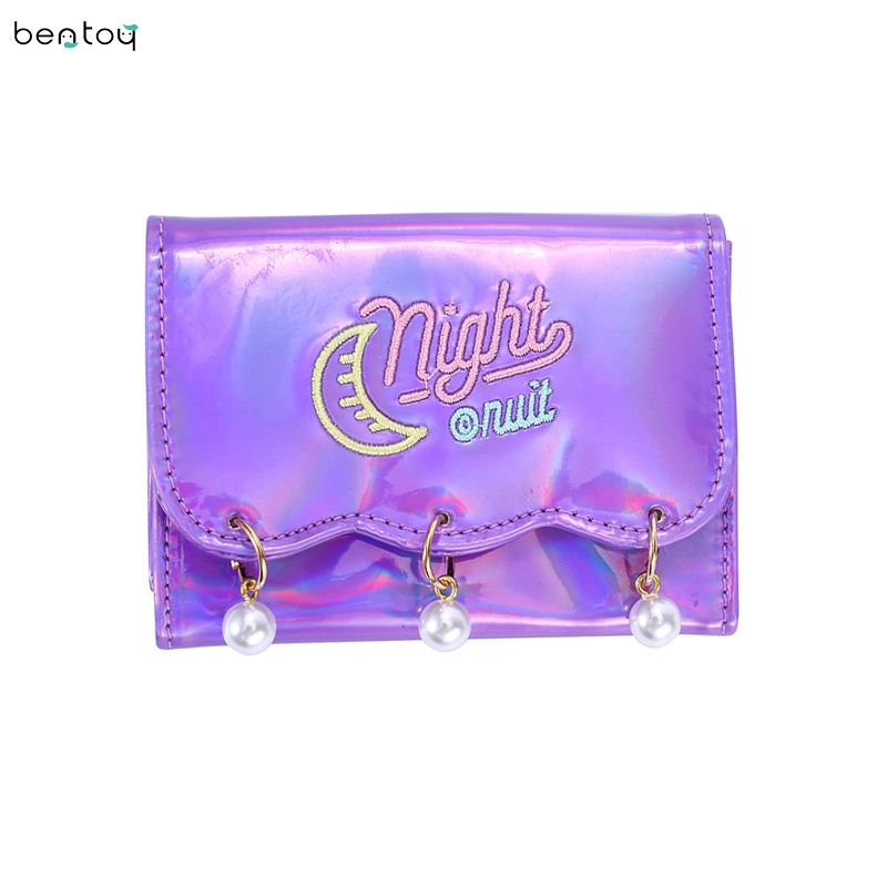 Bentoy Brand Women Short Wallet Hologram Pu Moon Embroidery Pearl Wallet Female Zipper Clutch Coin Purse Laser Card Holder Bag 2015 vintage hologram bag folding hand strap zipper day clutch bag laser hologram envelope bag