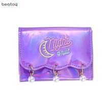 Bentoy Brand Women Short Wallet Hologram Pu Moon Embroidery Pearl Wallet Female Zipper Clutch Coin Purse Laser Card Holder Bag