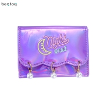 Bentoy Brand Women Short Wallet Hologram Pu Moon Embroidery Pearl Wallet Female Zipper Clutch Coin Purse Laser Card Holder Bag
