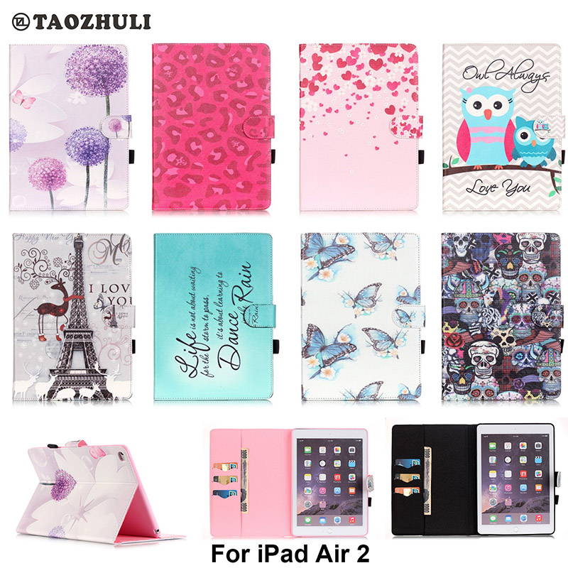 Fashion PU Leather Flip Case For Apple iPad Air 2 9.7'' Original Smart Tablet Stand Case With Card Slot For iPad 6 9.7 inch for apple ipad air 2 pu leather case luxury silk pattern stand smart cover