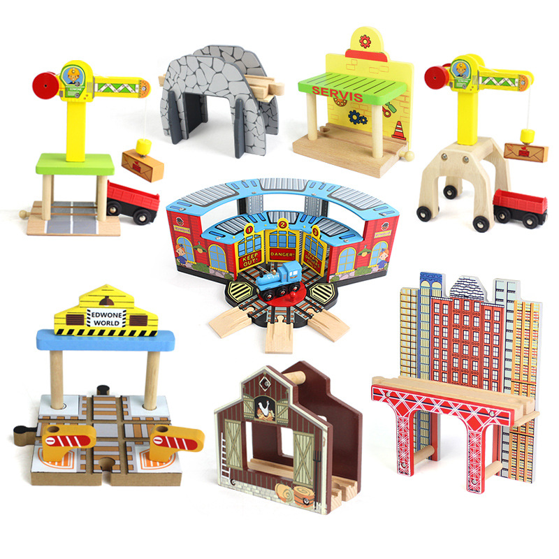 10 Styles Large Crane Track One Set Move Crane Tender Wooden Train Collectable Toy Railway Accessories For Children