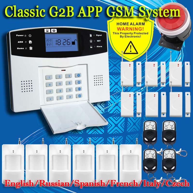 Free shipping english russian spanish french voice wireless gsm alarm system home security alarm systems lcd