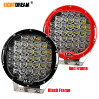 """185W led work light 9"""" inch Round 37 LEDs Roof Driving Headlight 4x4 Led Off Road Spotlights Black Red Led Work Lights x1pc