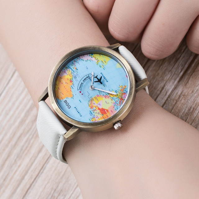 Bgg Special Design Wristwatch Plane Flying On The World Map Genuine Leather Lovers Quartz Watch Relojes Mujer Clock Hours Gift