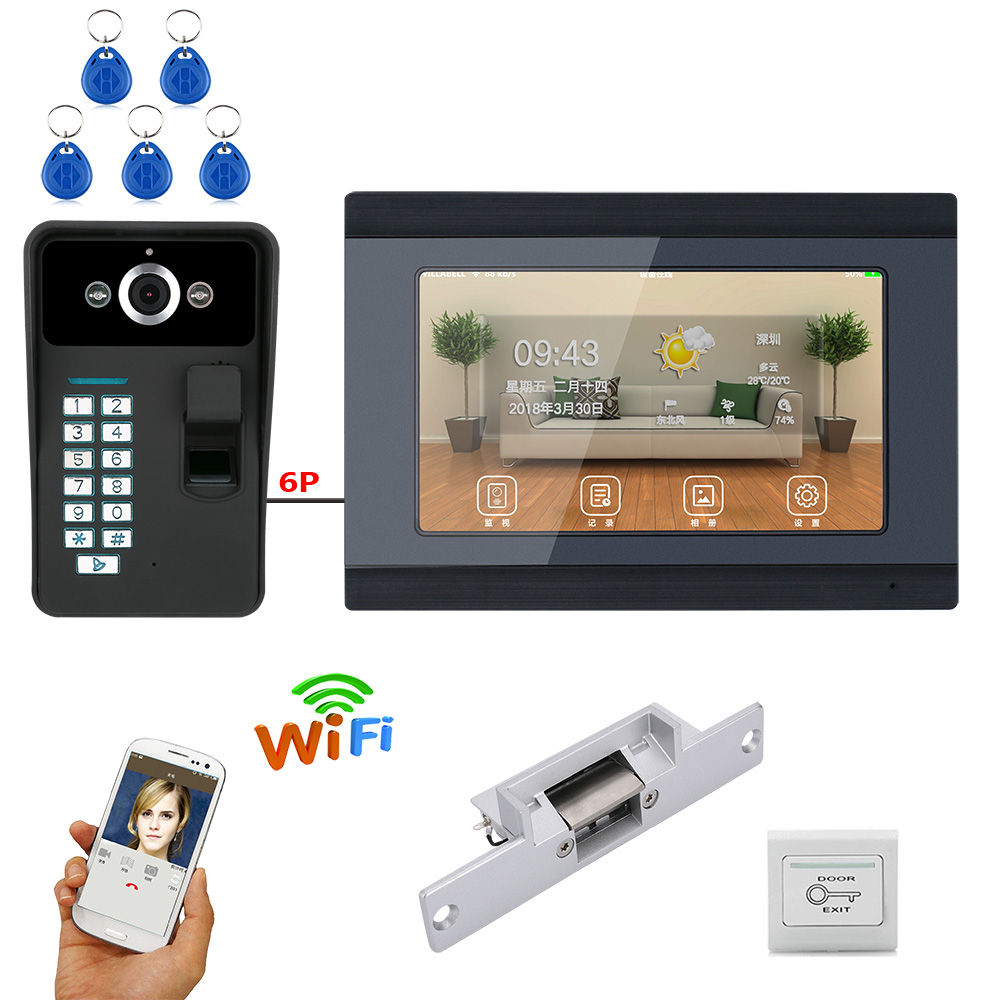 7 Inch Wired / Wireless Wifi Fingerprint Video Door Phone Doorbell Intercom System With Electric Strike Lock  IR-CUT HD 1000TVL