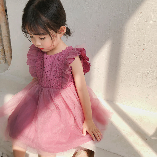 2019 Summer New Arrival Korean Version cotton pure color all match princess lace vest bubble dress for cute sweet baby girls