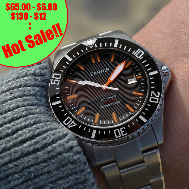 Parnis Automatic Diver Watch Waterproof 200m Metal Mechanical Men s Watches Sapphire Glass mekanik kol saati
