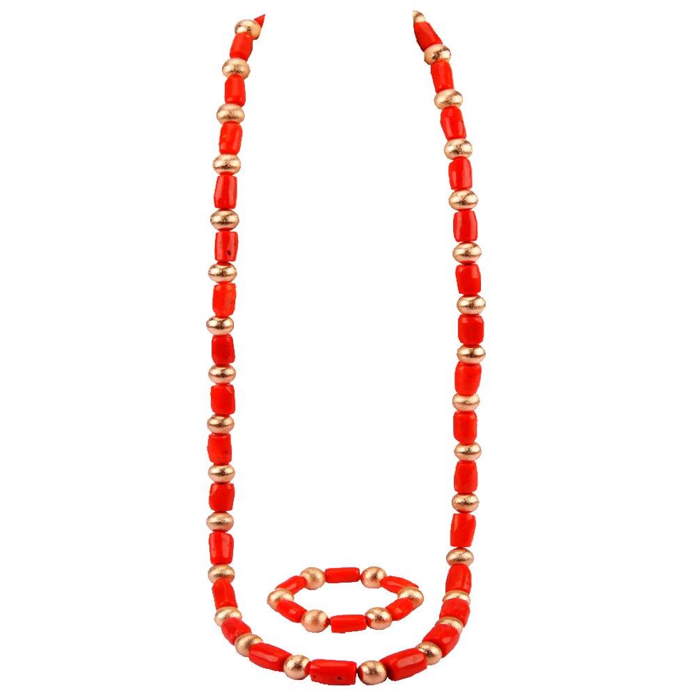 Ensemble de bijoux de luxe en corail pour hommes perles de corail de mariage africain cadeau de mariée Dubai or femmes ensemble de bijoux de Costume RCBS24