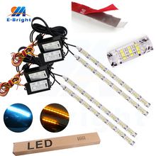 1set 8L 10L 12L 14L 12V 2835 Daytime running Light Car White&Yellow Ice blue&Yellow Flowing light Waterproof 60LM/SMD-L