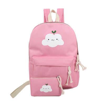 5f0c609d3 ... Women Canvas Backpack Cute Cloud Printing Backpacks Women's Travel Bags  Mochila Rucksack Shoulder Bag 2pcs/ ...