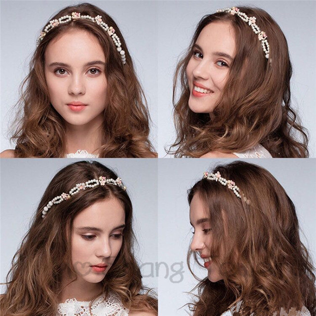 Imitation Pearl Hair Band White And Pink Flowers Wedding Accessories Flower Crown Tiara For Bride