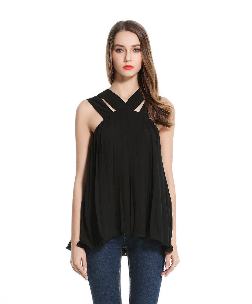 Women s Summer Knit Solid Cross Front Draped Ruched Loose Fit Flare Casual Chiffon font b