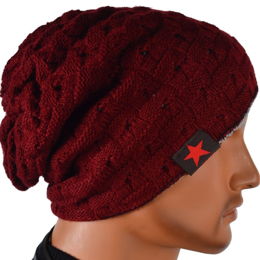 Mens Knit Winter Hat Beanie Reversible Skull Chunky Baggy Warm Cap