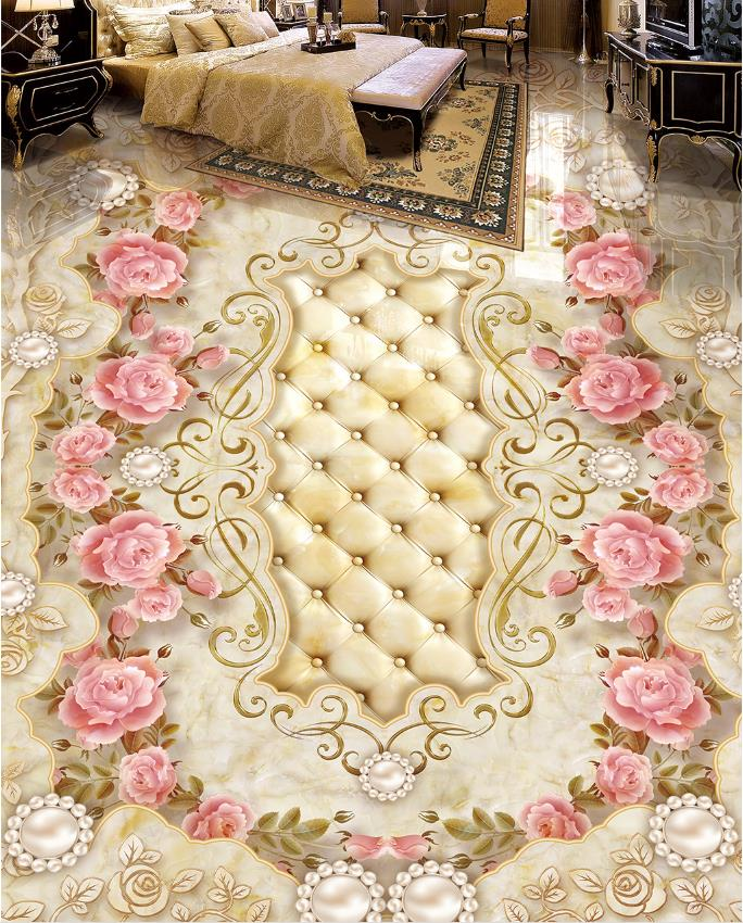 European style Custom Floor Mural Wallpaper Luxury Marble Pattern 3D Floor Tiles Hotel Living Room Bedroom Vinyl-Wallpaper 3d floor murals custom wallpaper 3d floor photo mural wallpaper flower european marble pattern vinyl flooring living room
