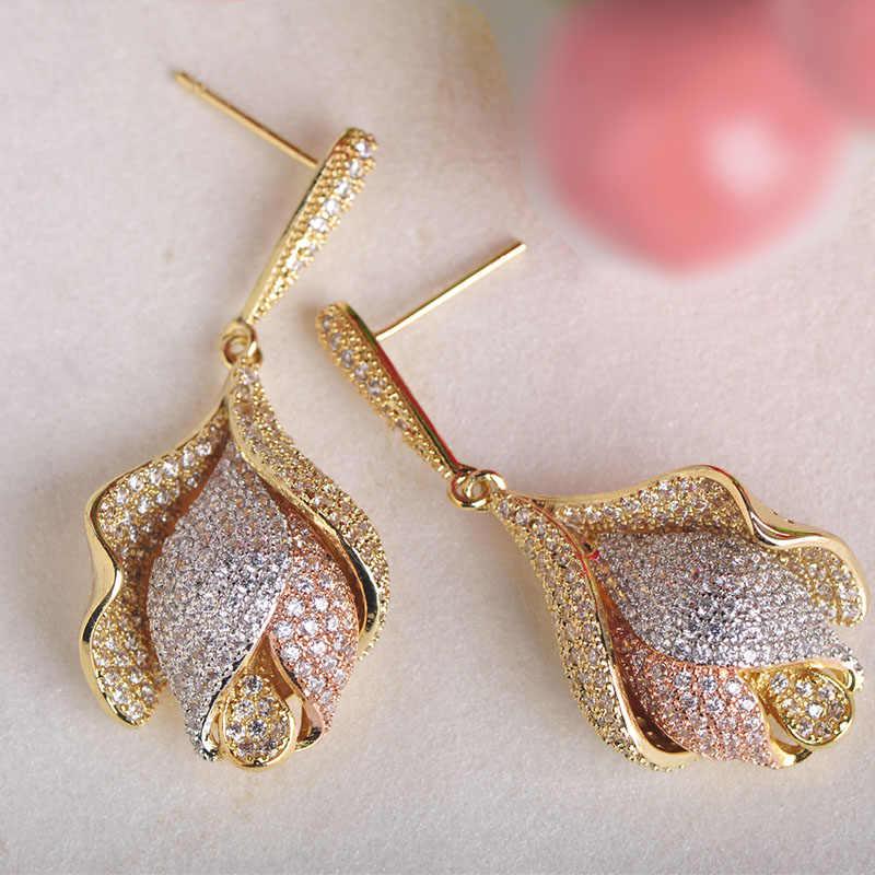 Dazz великолепные три тона цвета Тюльпан Цветок форма цепочка-чокер серьги набор микроинкрустация циркония свадебные ювелирные наборы для женщин
