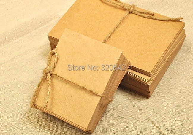 В стиле ретро карты сообщение, 10 см на 7 см крафт-бумага карты, пустой дизайн DIY Примечание оставляя карты, коричневый цвет бумажная бирка