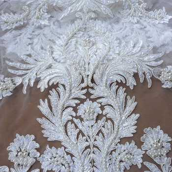 La Belleza ivory/white large pattern cord lace fabric heavy beaded fabric handmade beading lace gown lace fabric 1 yard