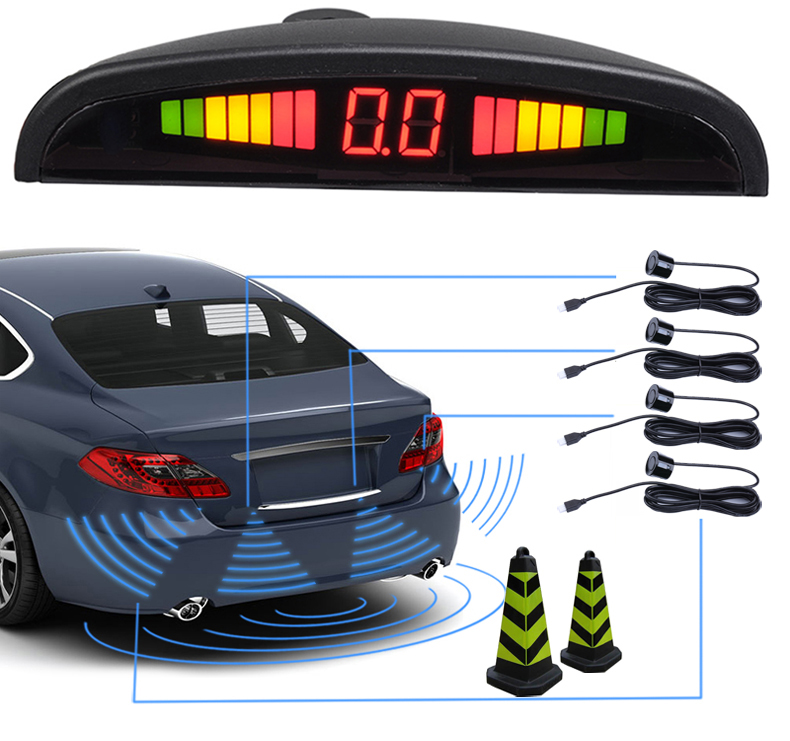 Universal Car Black Parking Sensor LED Display Reverse Backup Kit Buzzer System