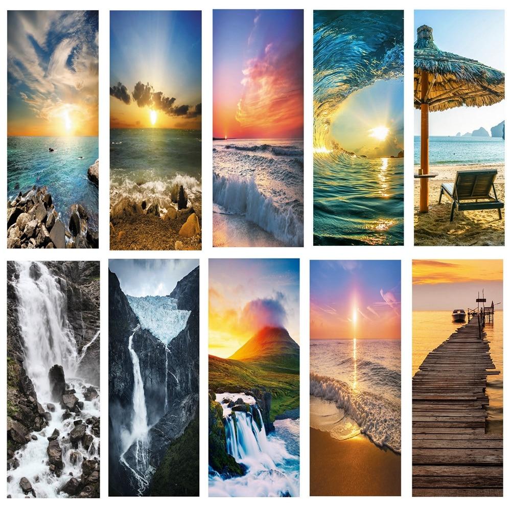landscape pattern door wallpaper stickers Beach, waves, sunset home decor door poster for wall stickers on door 200cm*77cm