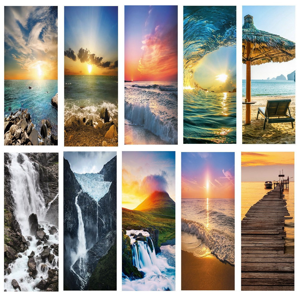 Landscape Pattern Door Wallpaper Stickers Beach, Waves, Sunset Home Decor Door Poster For Wall Stickers On Door 200cm*77cm