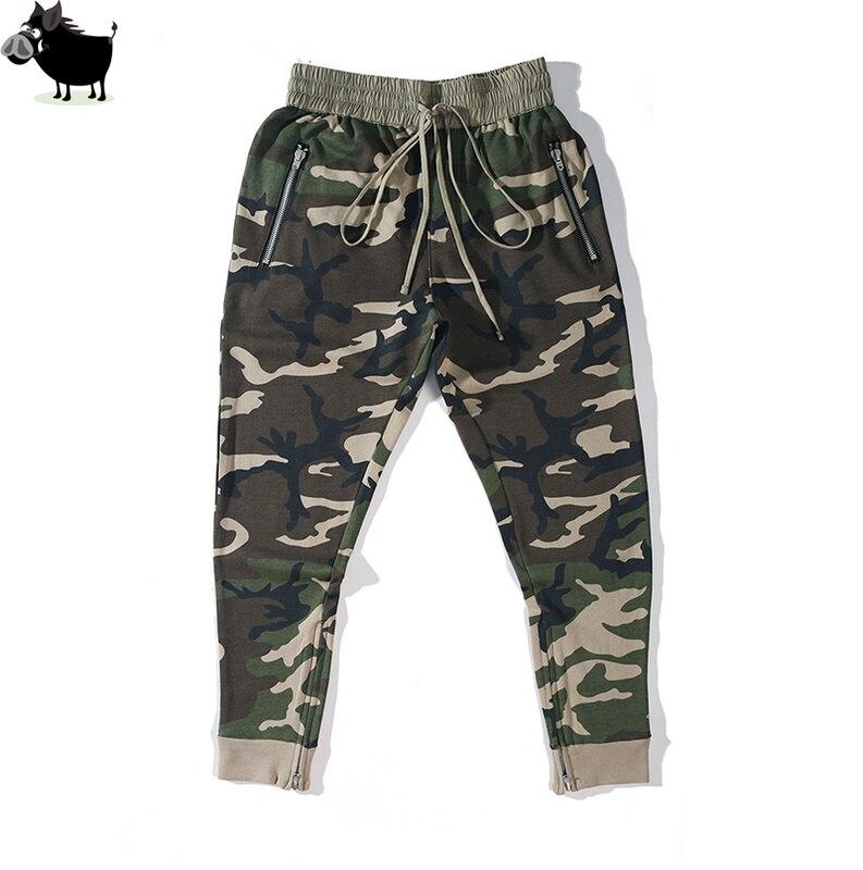 2018 Nouveau Hommes LA PEUR DE DIEU côté zipper camouflage pantalon Hip hop De Mode armée vert joggeurs pantalons de survêtement justin bieber