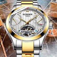 스위스 기계식 남성 시계 binger 럭셔리 브랜드 스켈레톤 뚜르 비옹 손목 방수 시계 남성 사파이어 남성 reloj hombre