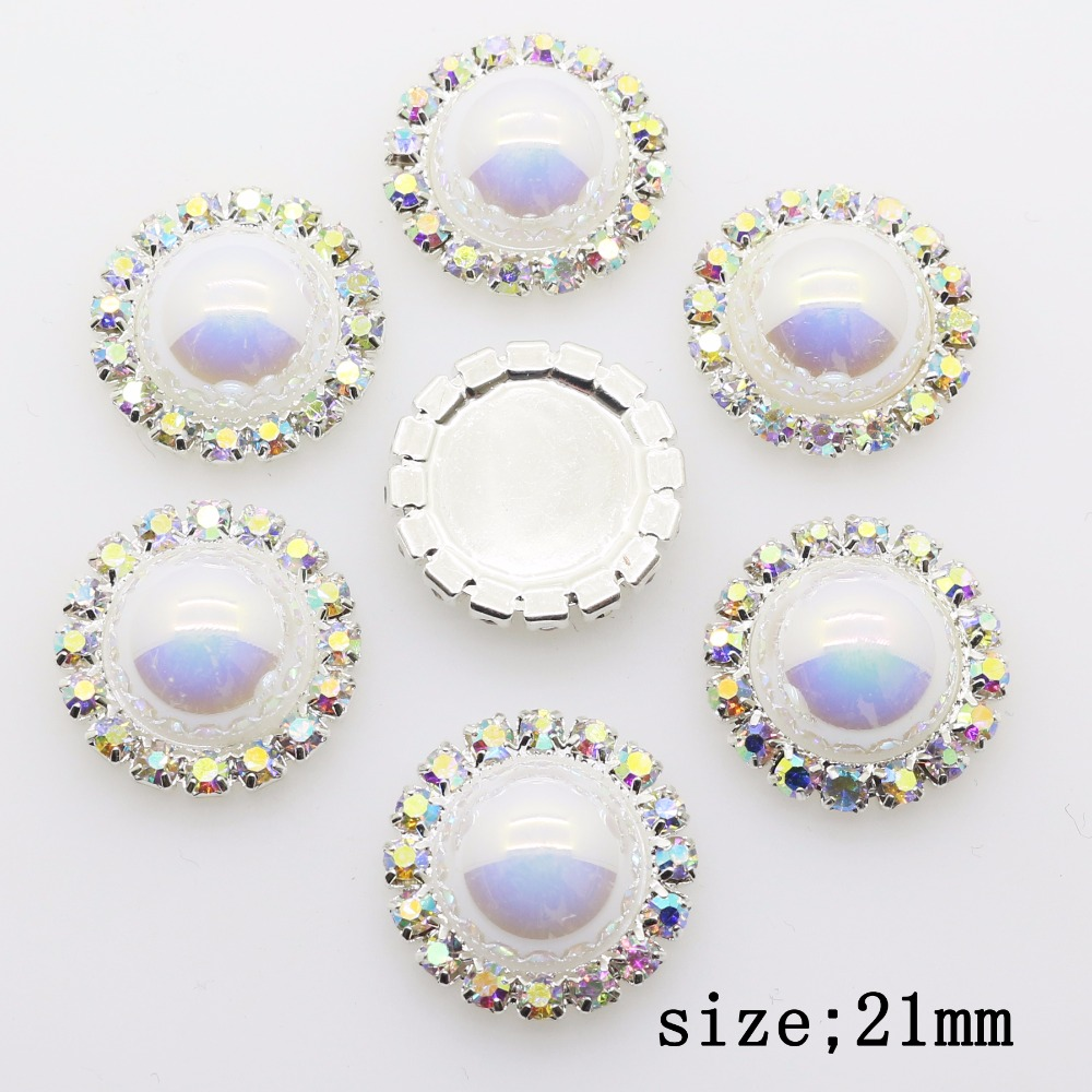 Upscale Quality 10Pcs 21mm Round DIY Colour Rhinestones Ornament Accessories  For Wedding Celebration Party Decoration