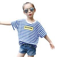 2017 Children Brand T Shirts Korean New Summer Girl Striped Short Sleeved T Shirt Printing Clothes