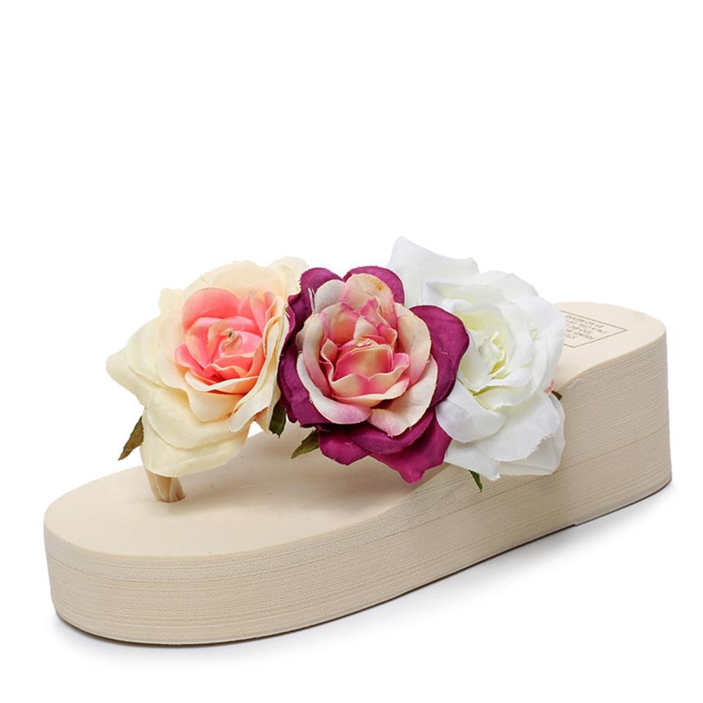 Online Shop 2018 Flip Slippers Wedges Female High Heeled Flower Flip