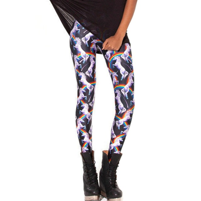 DOUBLA Womens Elastic Waist Printed Leggings 2017 Unicorn Camouflage Muscle Piano Stretchy Footless Pants Fitness Plus Size XXXL