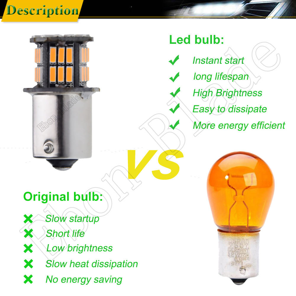 Image 5 - 10 X Car LED BAU15S 1156PY RY10W PY21W 7507 1156 BA15S P21W Amber Orange Yellow DRL Turn Signal Light Bulb Lamp 12V Auto Styling-in Signal Lamp from Automobiles & Motorcycles