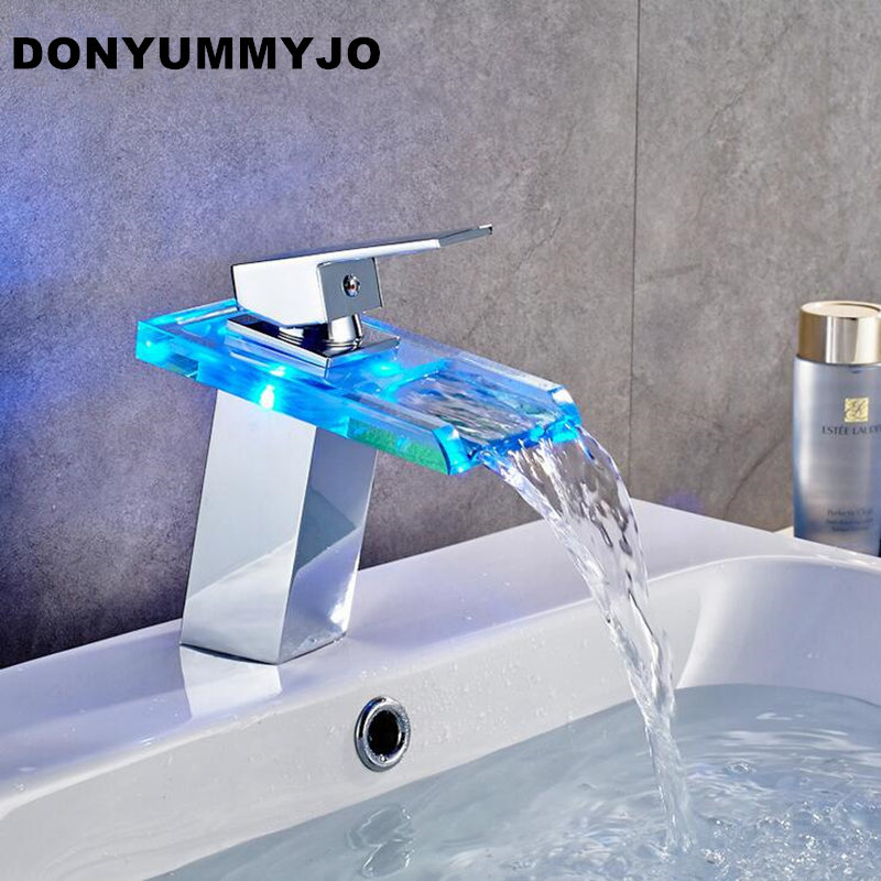 DONYUMMYJO High Quality LED Light Waterfall Spout Bathroom Basin Faucet Deck Mount Square Vanity Sink Mixer Tap