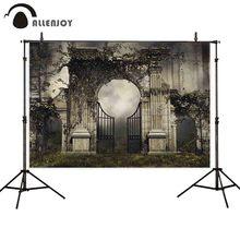 Allenjoy Fondo de fotografía con puerta de jardín gótica, bosque, Halloween, sesión fotográfica, sesión de fotos, atrezo, retrato