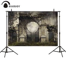 Allenjoy gothic garden gate photography backdrop forest Halloween background photocall photo shoot props portrait
