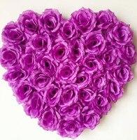 2ชิ้นรูปหัวใจกุหลาบดอกไม้กับดูดBehindeรถแต่งงานผนังประตูตกแต่งดอกไม้หลายสีที่มีอยู