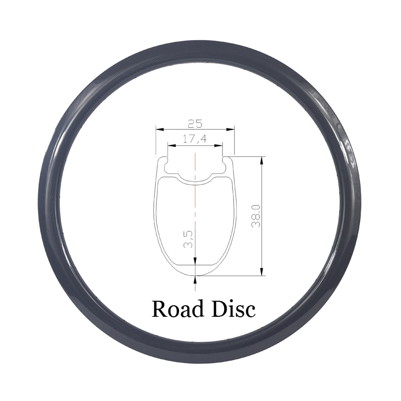 700c 38mm Tubeless U Shape Road Disc Brake Carbon Rim 25mm Wide 20 24 28 32 Holes No Brake Track Disk UD 3K 12K Matte Glossy