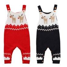 Christmas Newborn Baby Boy Girl Sleeveless Deer Romper Knitted Jumpsuit Playsuit Autumn Winter Warm Knitting Clothes 0-24M