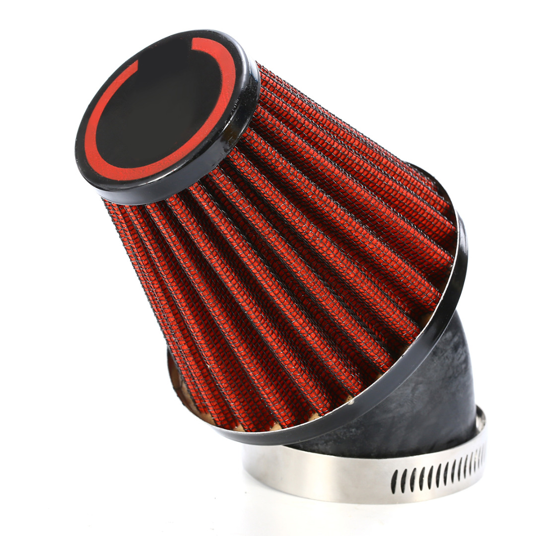 Cold Air Intake Filter 48mm Motorcycle 45 Degree Mushroom Head Air Intake Filter Bend Dual Layer Stainless Steel + Mesh
