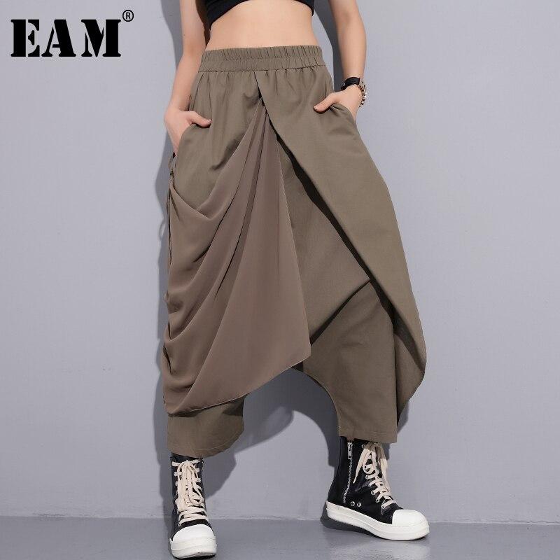 [EAM] 2018 New Summer High Elastic Waist Black Fold Bandage Split Joint Loose Long Cross-pants Women Trousers Fashion
