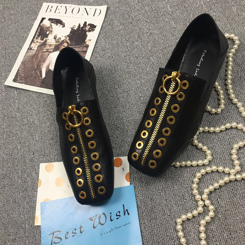 Cuero Zip Rivet Femenino Genuino Mules Cuadrado Frente Black Para Diseñador De Calzado Zapatos Pisos Ocio Toe Las Punk Flats brown Marca Mujeres SxgpSwXfn