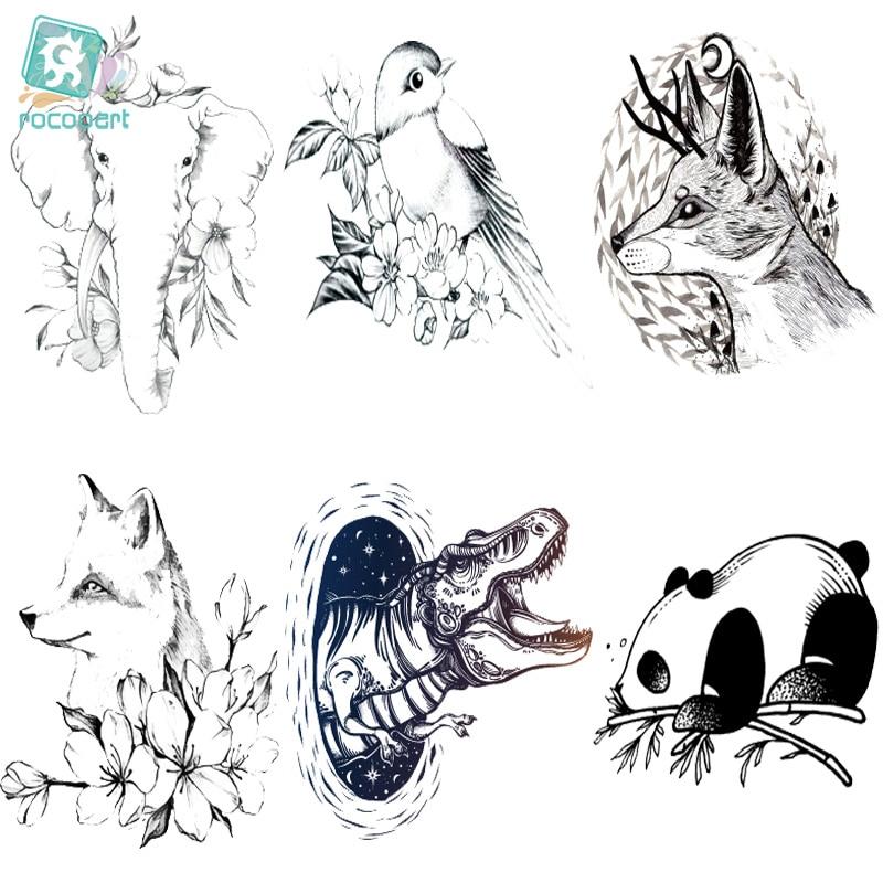 Rocooart CC2 6X6cm Little Vintage Simple Style Cute Black White Panda Dinosaur Wolf Animal Temporary Tattoo Sticker Body Art