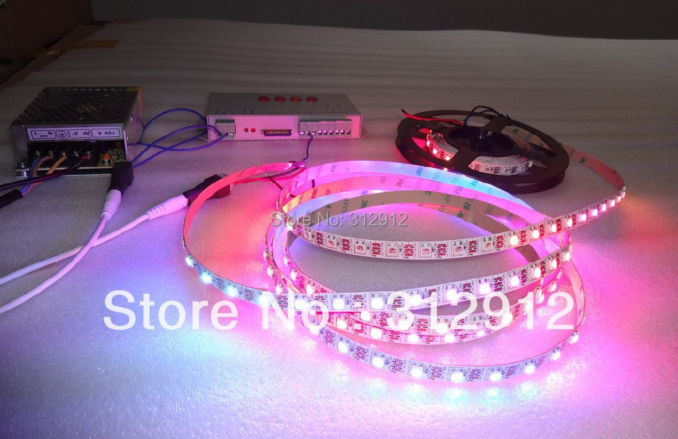 4m DC5V WS2812B led pixel srip,non-waterproof;60leds/m+T-1000S sd controller+5V/60W power supply dc m клемма