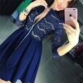 Vestidos das mulheres 2016 zipper v neck 3/4 manga plissada sexy lace dress azul preto outono da fêmea do partido vestidos plus size